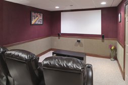 Finished basement theater using SoftWall Finishing Systems