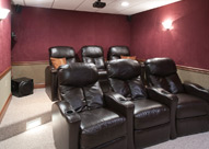 Home theater room with SoftWall Finishing Systems