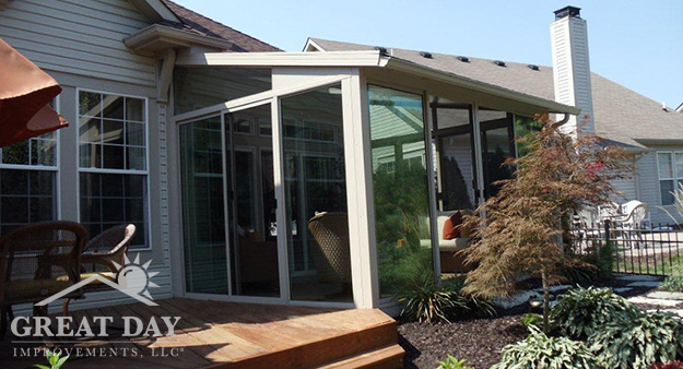 Washington sunroom design with patio